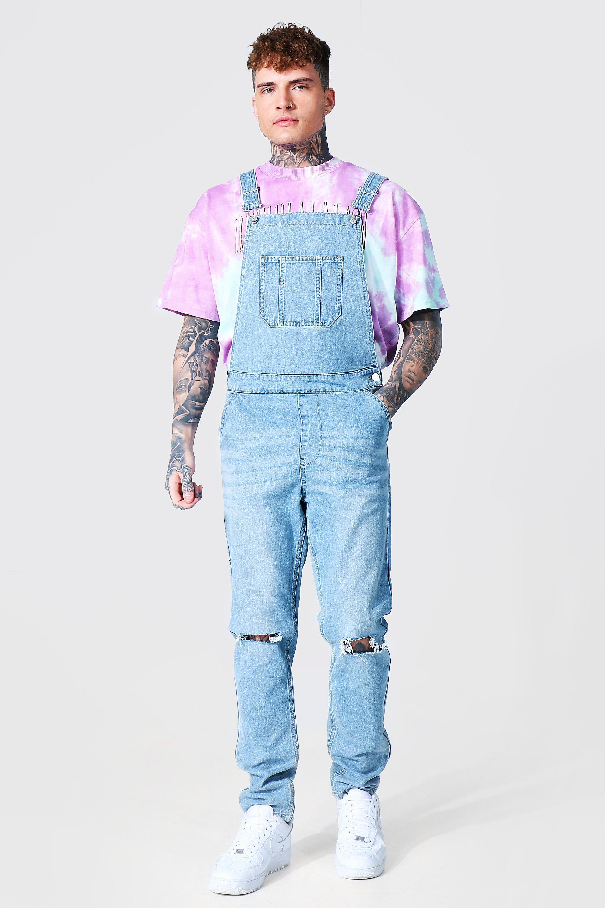 90s Outfits for Guys | Trendy, Party, Cool, Casaul Mens Slim Rigid Busted Knee Long Dungaree - Blue $15.00 AT vintagedancer.com