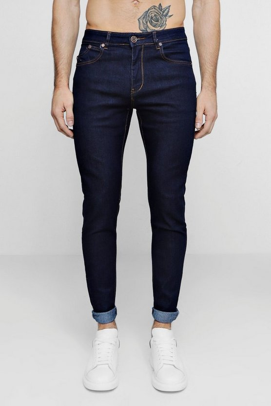 Mens Indigo Raw Indigo Skinny Smart Jeans