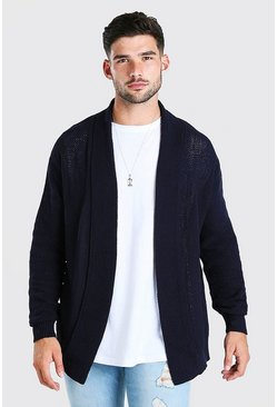 Mens Navy Textured Edge To Edge Cardigan