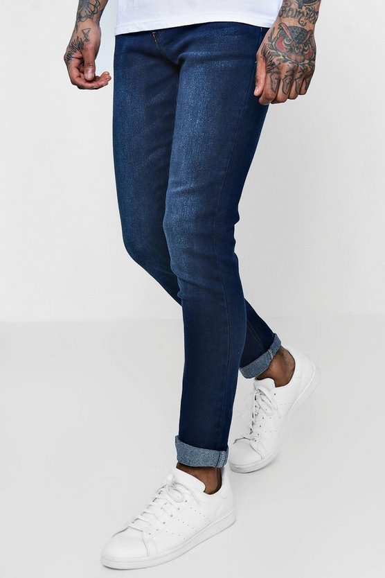 Mens Dark Washed Indigo Stretch Skinny Fit Jeans