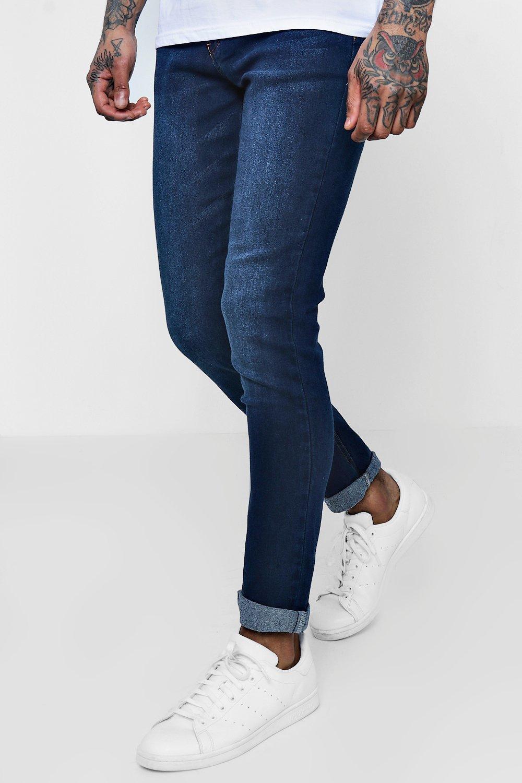 Boohoo Mens Dark Washed Indigo Stretch Skinny Fit Jeans - photo#48