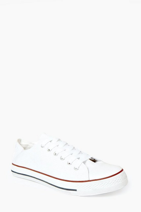 Mens White Canvas Plimsolls