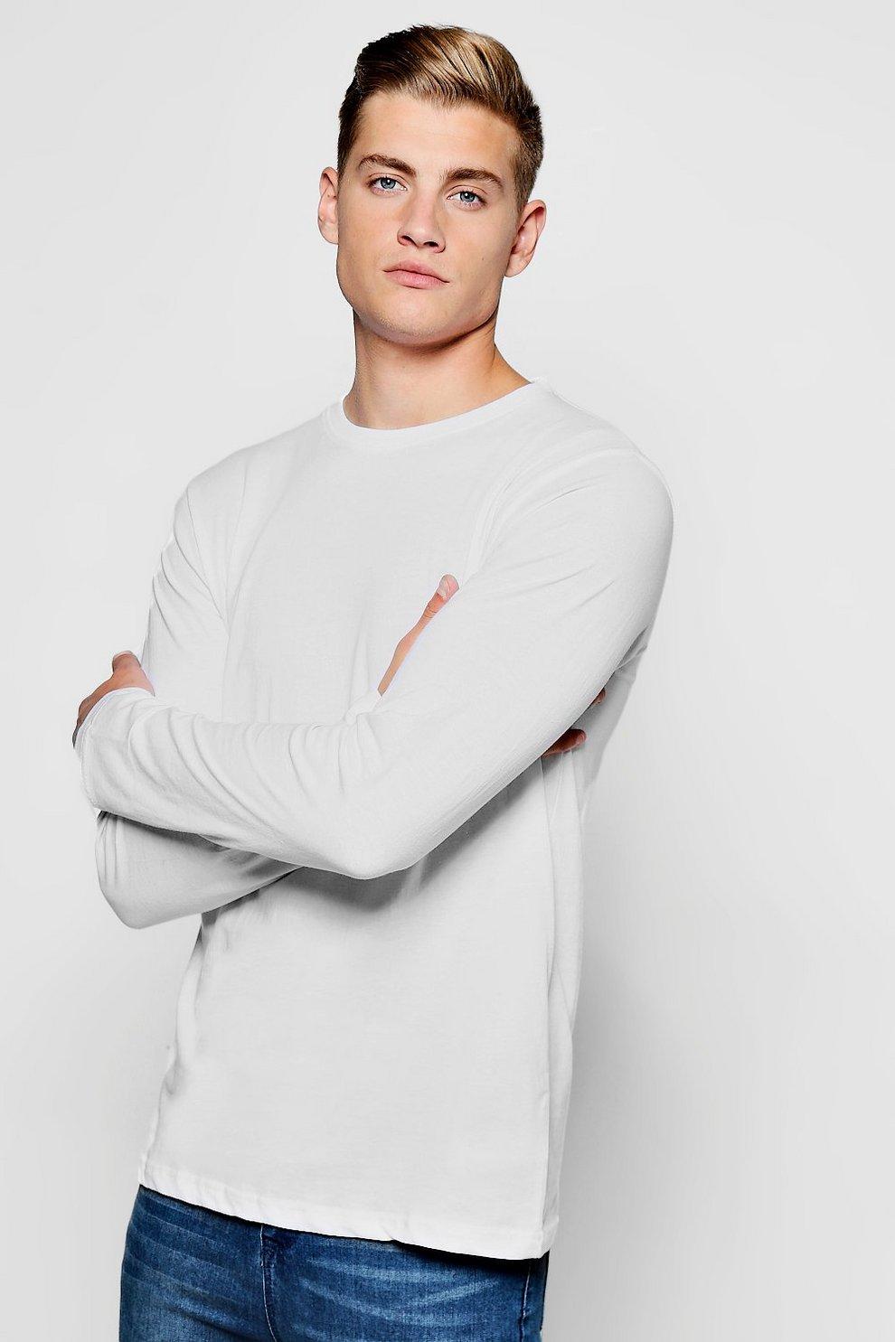 080041ffb0e969 Basic Long Sleeve Crew Neck T Shirt | Boohoo