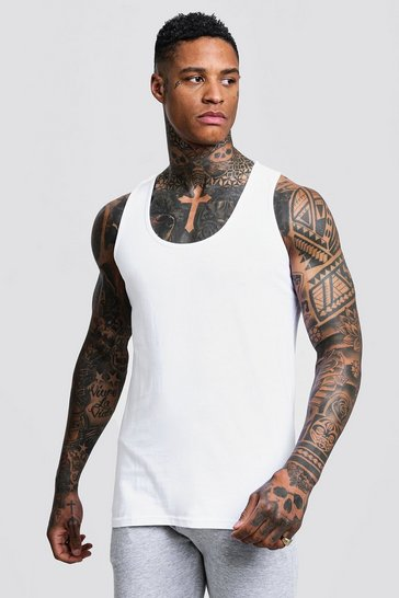 Mens White Basic Vest
