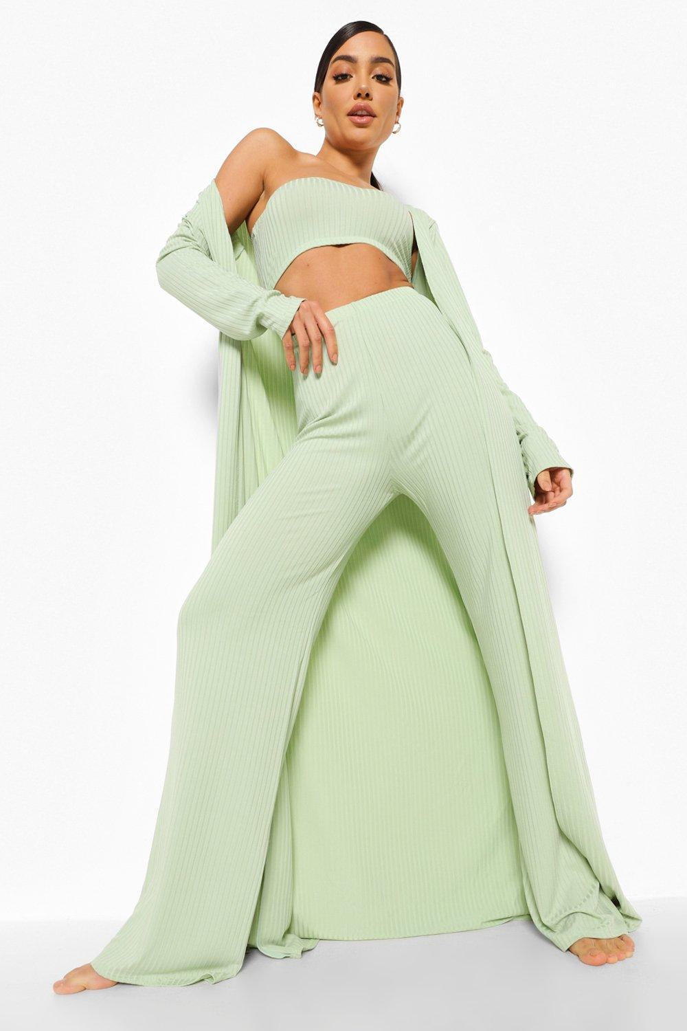 70s Clothes | Hippie Clothes & Outfits Womens Wide Rib Maxi 3 Piece Lounge Set - Green - 12 $25.00 AT vintagedancer.com