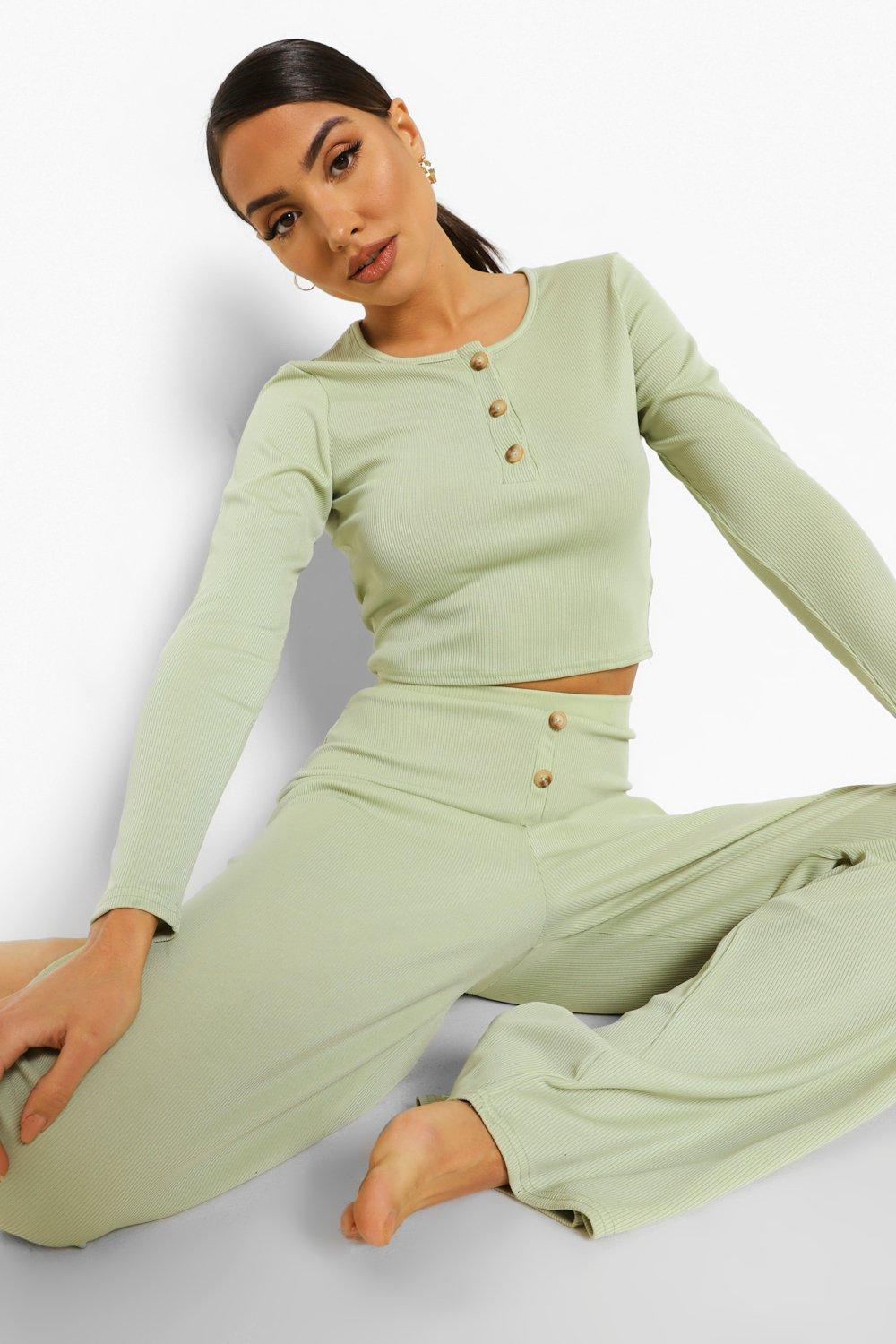 70s Clothes | Hippie Clothes & Outfits Womens Rib Button Front Wide Leg Lounge Set - Green - 12 $25.00 AT vintagedancer.com