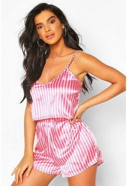 Pink  Neon Candy Stripe Satin Cami & Shorts Set