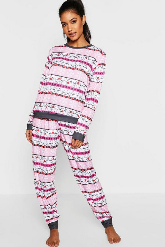 Womens Pink Snowflake & Bear Fairisle Long Sleeve PJs