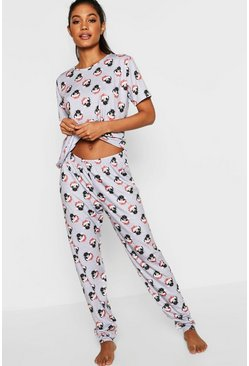 Womens Grey Festive Pug PJ Trouser Set