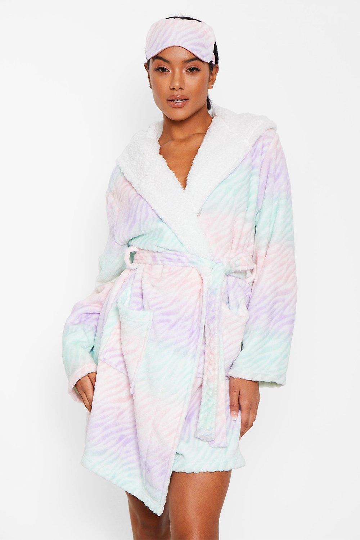 boohoo Womens Luxury Burnout Ombre Fleece Sleep Mask - Multi - One Size, Multi