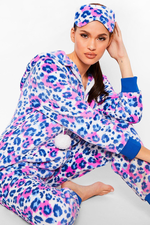 boohoo Womens Luxury Leopard Fleece Sleep Mask - Multi - One Size, Multi