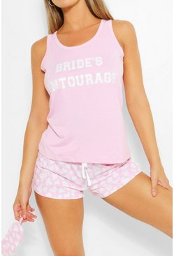 Brides Entourage PJ Shorts + Mask Set, Pink