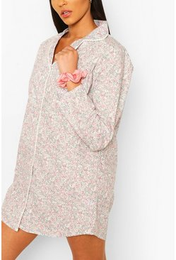 Floral Woven Night Shirt, Pink