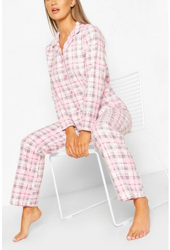 Pink Flannel Check PJ Trouser Set