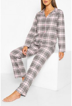 Flannel Check PJ Trouser Set , Pink