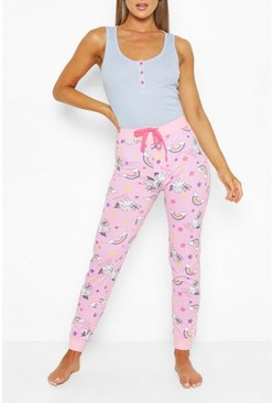 Blue Unicorn Rib Vest & PJ Trouser Set