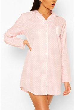 Polka Cotton Nightie, Pink