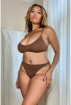 Chestnut Ribbed Seamless Triangle Bralet