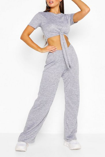 Grey Brushed Marl Short Sleeve Tie Front Lounge Set