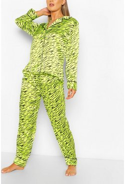 Green Tiger Print Satin PJ Trouser Set