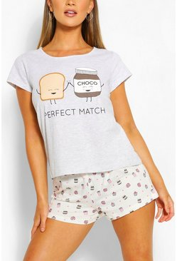 Grey Perfect Match PJ Short Set