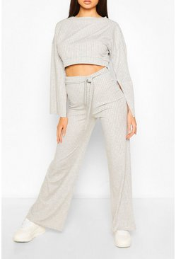 Grey marl Rib Flared Sleeve and Wide Leg Trouser Set