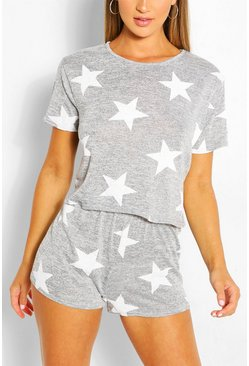 Star Print Short PJ Set, Grey marl