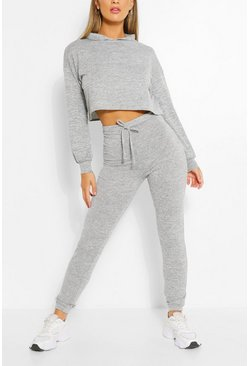 Grey Soft Melange Hoodie & Jogger Lounge Set