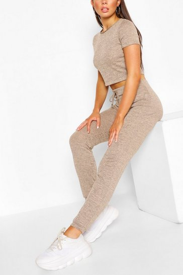 Sand Soft Melange Crop Tee & Jogger Lounge Set