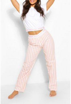 Pink Slogan Band Stripe PJ  Trouser Set