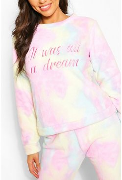 Multi 'It was all a dream' Tie Dye Fleece PJ Trouser Set