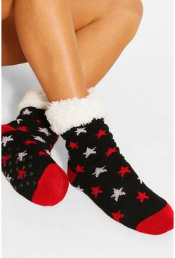 Black Star Print Slipper Socks