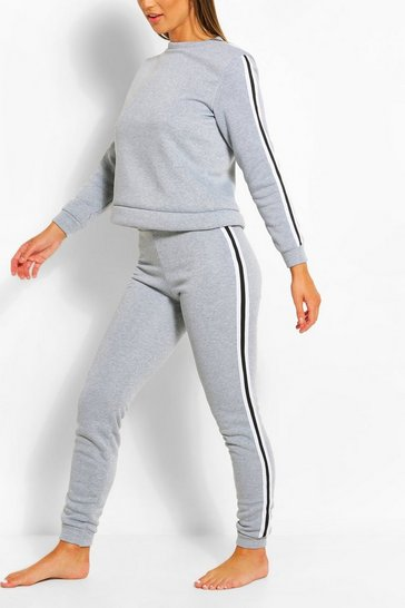 Grey marl Side Stripe Sweat & Jogger Set