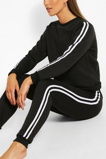 Black Side Stripe Sweat & Jogger Set