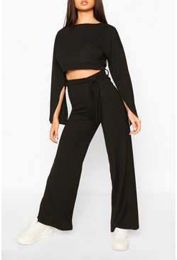 Black Rib Flared Sleeve & Wide Leg Trouser Set