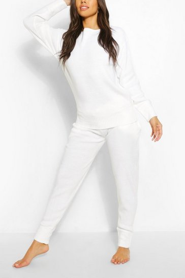 White Knitted Lounge Set