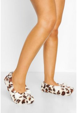 Leopard Ballet Slippers, Cream