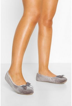 Grey Studded Bow Front Ballet Slippers