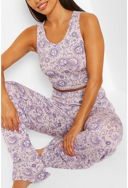 Lilac Celestial Crop Top & Wide Leg PJ Trouser Set