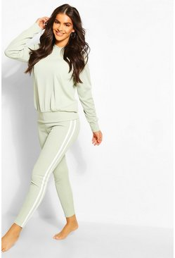 Sage Recycled Rib Side Stripe Hooded Lounge Set