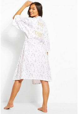 White Bride Tribe Printed Robe