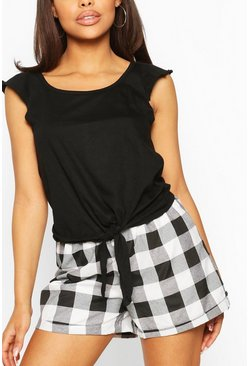Black Tie Front Flannel Short PJ Set