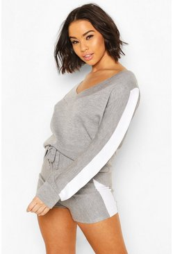 Grey Side Stripe Knitted Short Lounge Set
