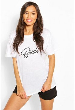 White Mix & Match Bride Slogan PJ Tee