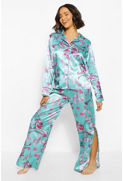Emerald Disney Mulan Satin PJ Trouser Set