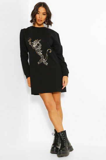 Black Disney Mulan Foil Print Sweat Dress