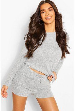 Grey marl Mix & Match Super Soft Tie Lounge Top