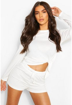 White Mix & Match Super Soft Tie Lounge Top