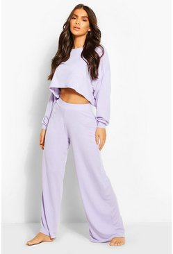 Lilac Ribbed Wide Leg Lounge Pants
