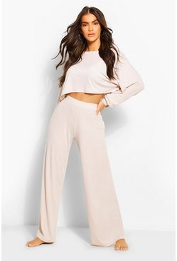 Ribbed Wide Leg Lounge Pants , Stone
